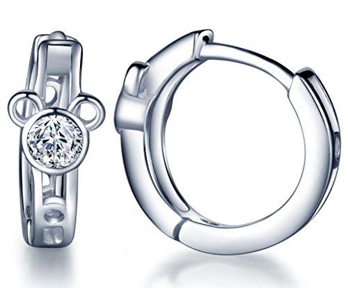Infinite U - Pendientes de aro de plata de ley 925 con circonitas cúbicas para mujeres y niñas (oso)