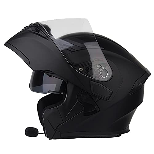 Modular Casco de Moto Bluetooth, Casco de Motocicleta Integrado con Doble Visera para Motocicleta Scooter, ECE Homologado Casco de Moto para Adultos (Color : D, Size : (M/57-58CM))