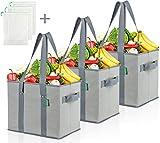 Cottara Neu Premium Einkaufstasche faltbar groß 3er Pack – Stabiler wiederverwendbarer Einkaufskorb mit faltbarem verstärktem Boden inkl. 3 Obst- & Gemüsenetze – 38 x 23 x 31 cm Grau