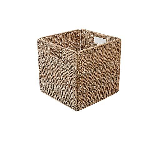 TEBX Cesta de almacenamiento cuadrada de mimbre plegable, caja de almacenamiento para dormitorio o decoración del hogar (S)