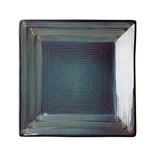 Placa cuadrada de cerámica creativa Proceso de color Underglaze Resistente a altas temperaturas Puede contener Ensalada de frutas Pastel de pasta Postre Microondas Apto para lavavajillas -10.5in Az