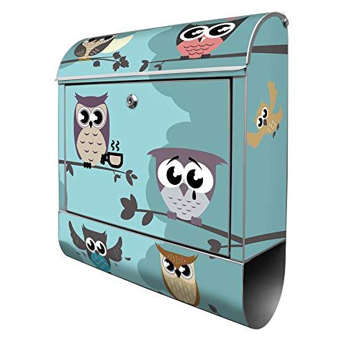 Banjado Design Briefkasten mit Motiv Acht Eulen | Stahl pulverbeschichtet mit Zeitungsrolle | Größe 39x47x14cm, 2 Schlüssel, A4 Einwurf, inkl. Montagematerial
