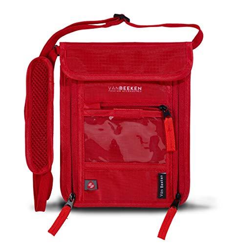 Brustbeutel Brusttasche mit RFID-Blockierung für Damen Herren I wasserabweisend flach leicht I wasserdichter Umhängegeldbeutel Reisegeldbeutel Neck Pouch I VAN BEEKEN Reise-Pass-Tasche (Rot)
