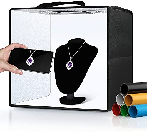 """Glendan Portable Photo Studio Light Box,12""""x12"""" Professional Dimmable Shooting Tent Kit with 112 LEDs Lights & 6 Backdrops for Jewelry and Small Items Product Photography"""