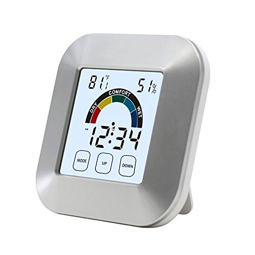 ALLOMN Innentemperatur-Feuchtigkeits-Uhr-2,7 Zoll LCD-Digital-Temperatur-Feuchtigkeitsmesser mit Notensteuerung, Wecker, eingebauter Uhr und Zeitanzeige für Küchen-Badezimmer