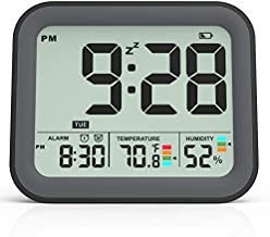 KUCOOLE Small Battery Operated Digital Alarm Clocks for Bedrooms, Simple Travel Alarm Clock with Indoor Thermometer, Hygrometer, Snooze, Dual Alarm, Loud Buzzer – Black