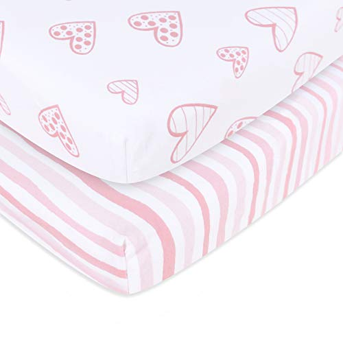 Pack n Play Playard Mattress Sheets 2 Pack, 100% Jersey Knit Egyptian Cotton Stretchy Portable Mini Crib Sheets or Playpen Sheets, Ultra Soft Breathable Pack n Play Mattress Cover for Baby