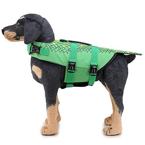 LIMESI Chaleco Salvavidas para Perros, Chaleco de Natación Ajustable para Mascotas, Salvavidas para Mascotas, Chaleco de Flotación con asa de Rescate Superior-L