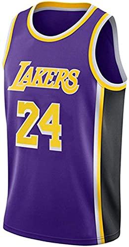 Retro Baloncesto Uniforme Lakers 24# Camiseta de Baloncesto para Hombre Chaleco Transpirable Classic Bordery sin Mangas Camiseta (Color : Purple, Size : XXL)