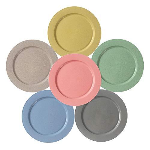 Hobein Weizenstroh-Teller, 25cm 6 Farben Abbaubar Geschirr mikrowellen- und spülmaschinenfest, leicht, BPA-freie, Salat/Kuchen/Essteller, Anti-Fallen, Umweltschutz und Hygienisch