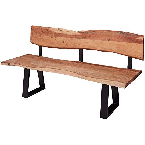 Wohnling Banc de salle à manger Gaya en bois d'acacia massif avec bord en arbres | Banc en bois avec dossier | Banc de cuisine en bois style maison de campagne | Banc en bois massif