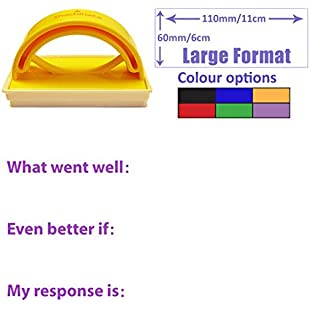 KS3 / 4 Written Feedback & Response Record Stamp - Large Format. What went well (WWW), Even better if (EBI), My response is (Pupil / Student Response). Choice of ink colours (Violet)