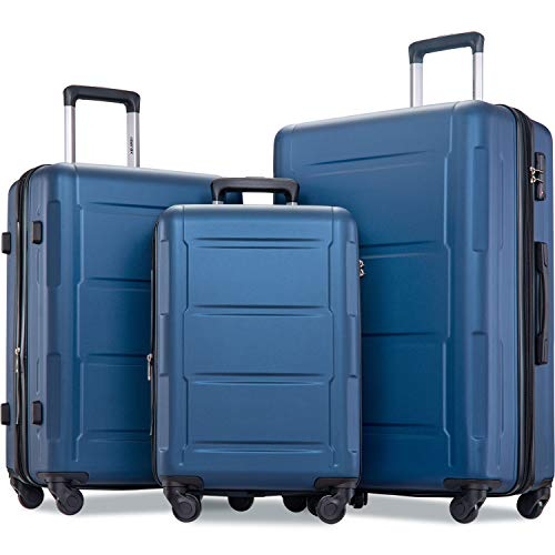 Merax Luggage Set with TSA Lock, All Expandable 3 Piece Hardshell Lightweight Suitcase Set 20inch 24inch 28inch (Blue)