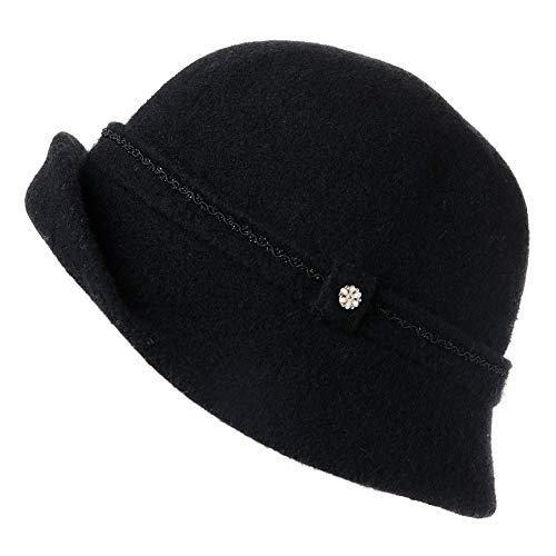 Fancet Faltbarer Glockenhut Damen 60% Wolle Fedora warme Bucket Vintage Schwarz