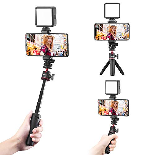 JUSMO Smartphone Vlogging Kit with Adjustable Tripod Handle Grip, Dimmable LED Light - YouTube, TIK Tok, Vlogging Equipment for iPhone/Android Smartphone Video Kit (ST-06)