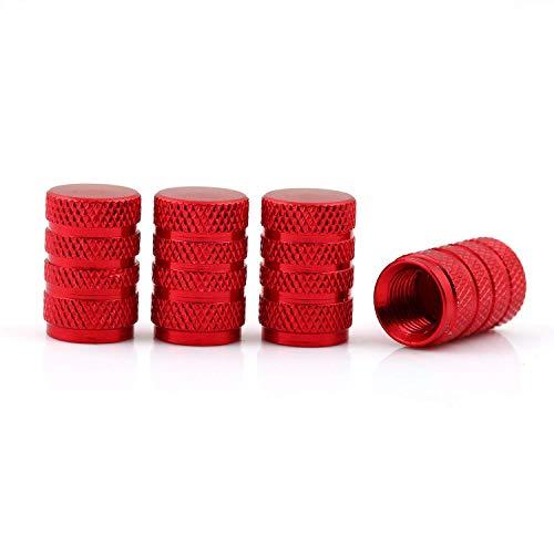 DM Autoteile Aluminium Auto Ventilkappen 4-er Set versch. Farben mit Dichtung (Rot)