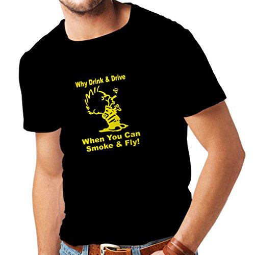 lepni.me Camisetas Hombre ¿por qué Beber y Conducir Cuando se Puede Fumar y Volar? para los Amantes de la Cannabis (XXXX-Large Negro Amarillo)