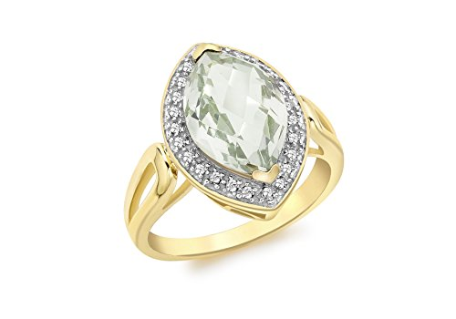 Carissima Gold 9 ct Yellow Gold 0.15 ct Diamond Marquise Green Amethyst Ring - Size - P