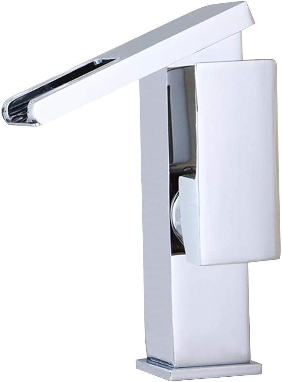 LED Wasserhahn, Waschbecken Ventil, Badezimmer Küche 3 Farbeinstellung, Einlochmontage Wasserfall Abwasser, Hei- und Kaltwasserkontrolle, Verkupferung, Silber (Farbe   -, Größe   -)