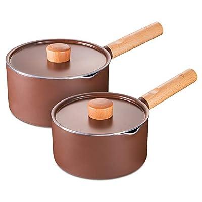 SKY LIGHT Sauce Pan 2 Quart, Nonstick Saucepan with Lid, Stone-Derived Granite Coating No-stick Saucier Pot, Ergonomics Wooden Handle, Pour Spouts Milk Pot, Induction Compatible, Brown