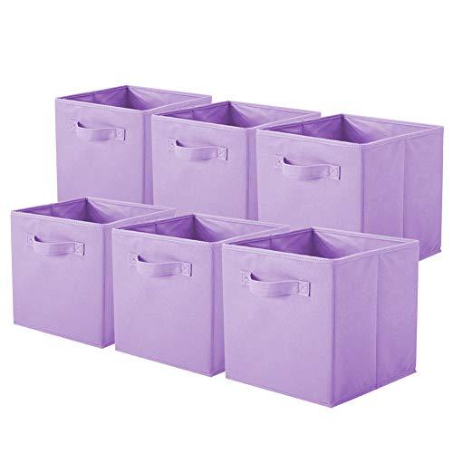 ShellKingdom Foldable Cloth Storage Cube Basket Bins Organizer Containers Drawers (6, Lavender)