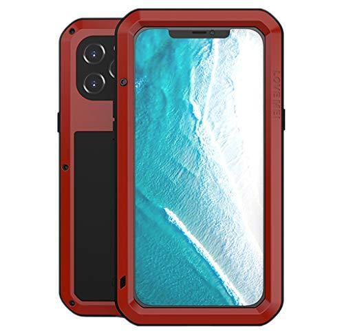 Love Mei para iPhone 12 Pro MAX Funda, Impermeable Militar Antichoque a Prueba de Polvo Cubierta Híbrido Metal Aluminio+Silicona Antigolpes Carcasa con Vidrio Templado para iPhone 12 Pro MAX (Rojo)