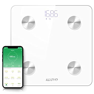 RENPHO Smart Body Fat Scale Bluetooth Digital Bathroom Scales Wireless Weight Scale FDA Approved BMI Scale Body Composition Monitor with Smartphone App, 396 lbs - White