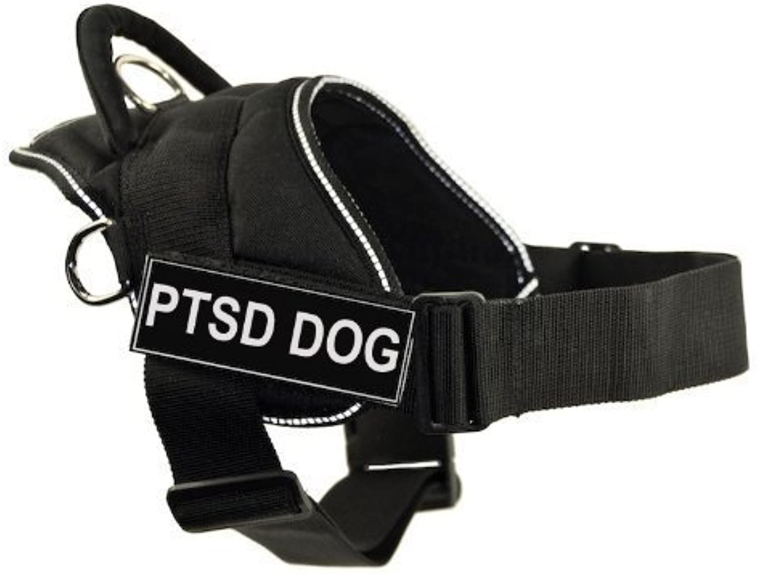 Dean & Tyler DT Fun Works Harness, PTSD Dog, Black With Reflective Trim, Large  Fits Girth Size  32Inch to 42Inch