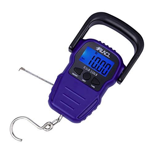 ランケル(RUNCL) デジタルスケール スケール メジャー 釣り 50kg 携帯式デジタル フィッシングスケール 巻き尺付き デジタル吊り下げ秤 高精度 軽量 便利 ブルー