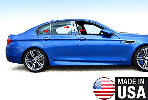 Made in USA! Compatible with 2011-2015 BMW 5 Series F10 528/535/550 Stainless Steel Chrome Pillar Post Trim 6PC