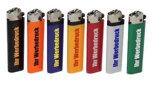 300 x einseitig Bedruckt Feuerzeug Ecuador SCHWARZ mit Reibrad 1-farbig Werbung Druck Logo