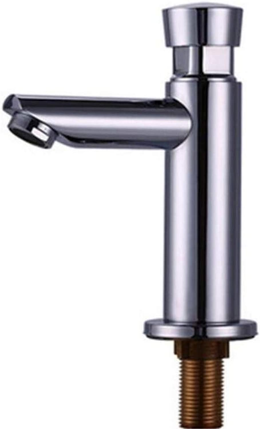 Taps Kitchen Sinksink Faucet Self-Closing Basin Filling Faucet Copper Single Cold Delay Basin Single-Connected Spiral Faucet