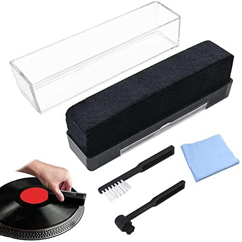 Kit 4 en 1 Limpiador para Discos Vinilo, Limpiador del Cepillo de Limpieza del Disco de Vnilo de Franela, Cepillo Anti-estático de Fibra de Carbono para Mantenimiento- No rayará Tus Grabaciones