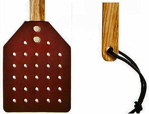 Heavy Duty Leather Fly Swatter- Made by Amish Craftsmen Brown Leather Swatter Durable Wooden Handle