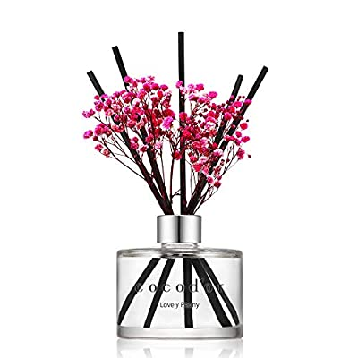 Cocod'or Preserved Real Flower Reed Diffuser, Lovely Peony Reed Diffuser, Reed Diffuser Set, Oil Diffuser & Reed Diffuser Sticks, Home Decor & Office Decor, Fragrance and Gifts, 6.7oz