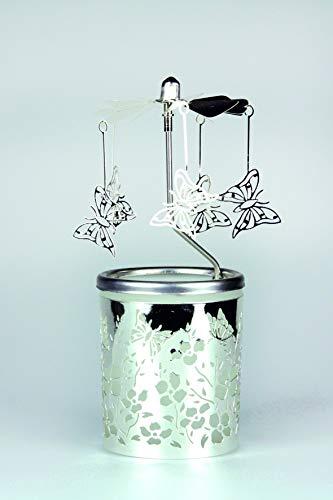 Kerzenfarm Hahn Glaskarussell Teelichthalter Windlicht 84365 Motiv Schmetterling Größe 16 x 6 x 6 cm Glaskarussel, Glas, Silber, 6 cm