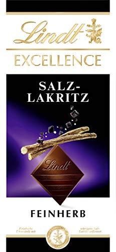 Lindt EXCELLENCE Tafel, Feinherbe Schokolade mit Salz-Lakritz verfeinert, 1er Pack (1 x 100 g)