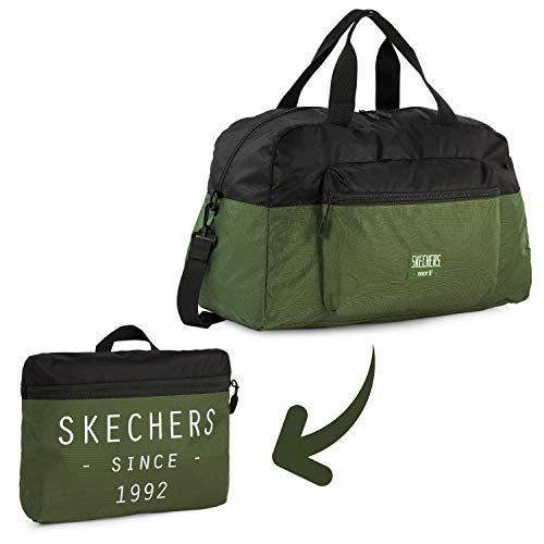 SKECHERS - Bolsa Plegable de Bolsillo Integrado, Ideal para Gimnasio, Instituto, Colegio etc. Diseño único y Original de la Marca. S982, Color Verde Fresno
