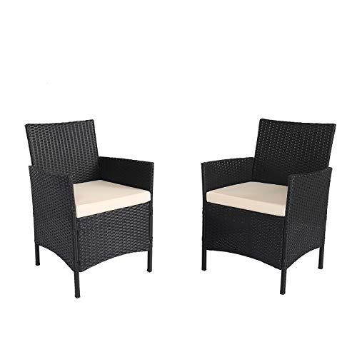Ambientehome 2er Set Polyrattan schwarz Sessel