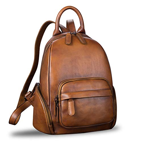 Genuine Leather Backpack for Women Vintage Handmade Satchel Bookbag Designer School College Daypack (Brown)