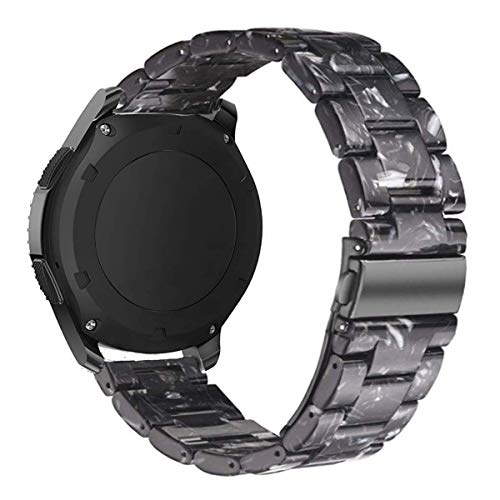 Omter Resin Band Compatible with Samsung Galaxy Watch Active 2 (44mm/40mm)/Active,Galaxy Watch 42mm R810, Gear Sport,Gear S2 Classic,Ticwatch E, Women Men Fashion Bracelet Strap(Black)