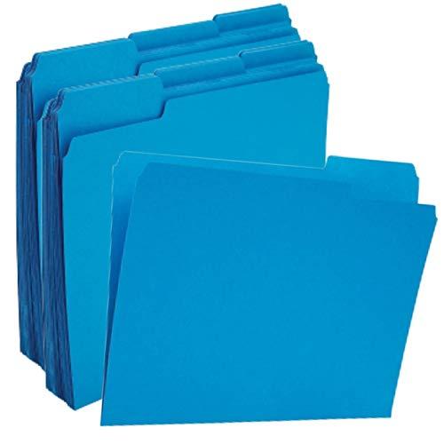 1InTheOffice Blue File Folders Top-Tab File Folders, 3 Tab, Blue Folders, Letter Size, 24/Pack