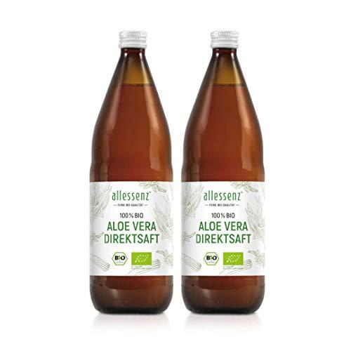 Bio Aloe Vera Direktsaft 100% | aus kontrolliert biologischem Anbau | handfiletiert aus dem hochwertigen Innen-Blattfilet | durchschnittlich 1200mg/Liter Aloverose | 2 Flaschen je 1.000 ml