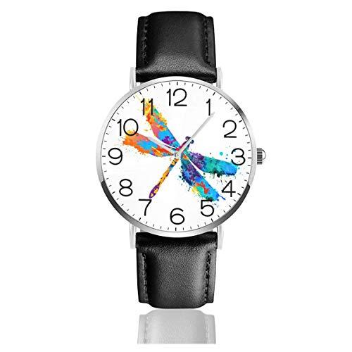 Pintura libélula Reloj de Cuarzo Reloj de Pulsera de Cuero de Moda con Correa de Cuero Negro para Mujeres Hombres niños niñas