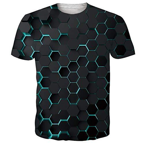 NEWISTAR Unisex Jugend 3D Druck Grafik Casual Kurzarm T-Shirt , Linien, M