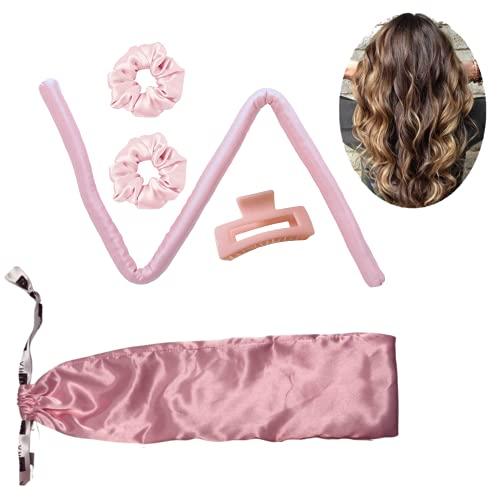 Neha Beauty Tiktok Heatless Hair Curling Ribbon 100% Mulberry Seide Silk Lockenwickler    Locken ohne Hitze   Scrunchies (Rosé)