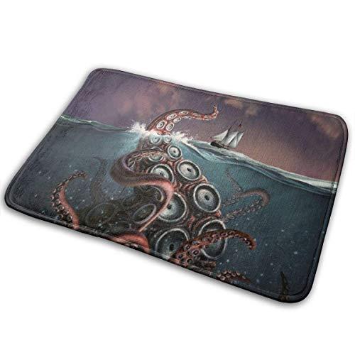 YAGEAD Octopus Tapete con Estampado de Monstruos Alfombrillas para Dormitorio Alfombrillas para Cocina y Sala de Estar Alfombrilla Antideslizante Alfombrilla para Piso