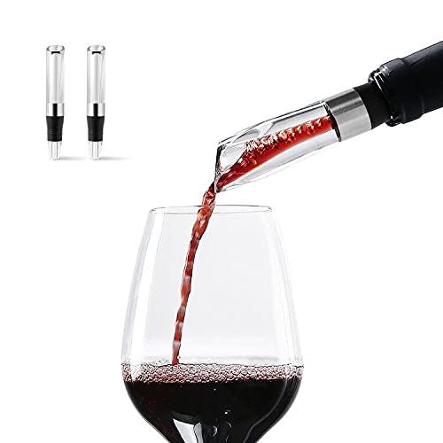 Wiwoney - Decanter aeratore per vino, confezione da 2, decantazione rapida e picco di aeratore (chiaro)