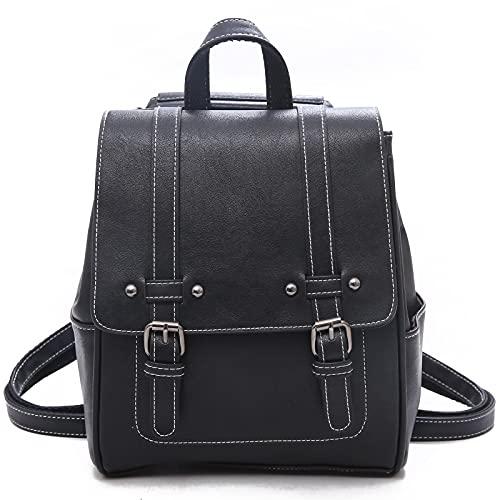 Unisoul Mochila para mujer de piel sintética, estilo casual, mochila escolar, ligera, mochila de viaje, vintage, 2 en 1, para la escuela, viajes, trabajo
