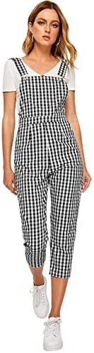 SOLY HUX Women Gingham Pocket Side Pinafore Long Bib Overall Plaid Suspender Jumpsuits Black product image